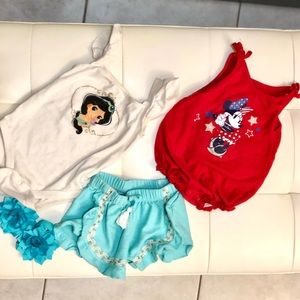 ✨2 Disney ❤️ Baby Girl Sleeveless Outfits💫 | 6-9M